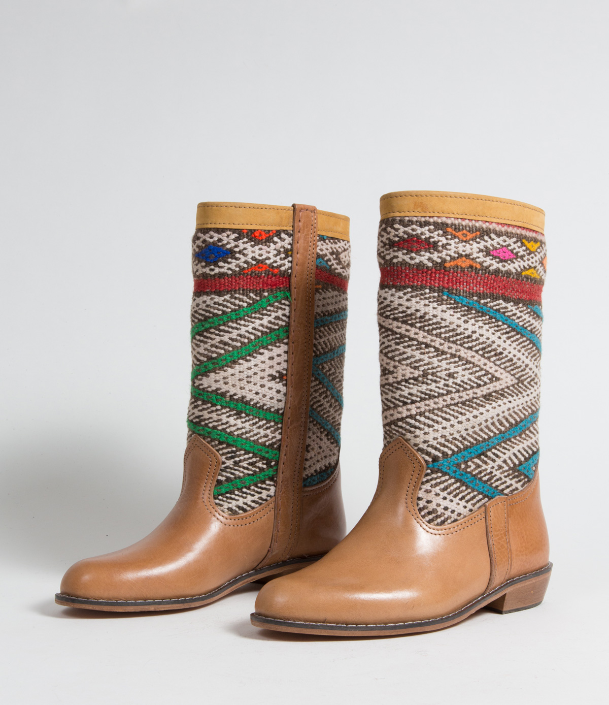 Bottes Kilim cuir mababouche artisanales (Réf. MCL1-38)