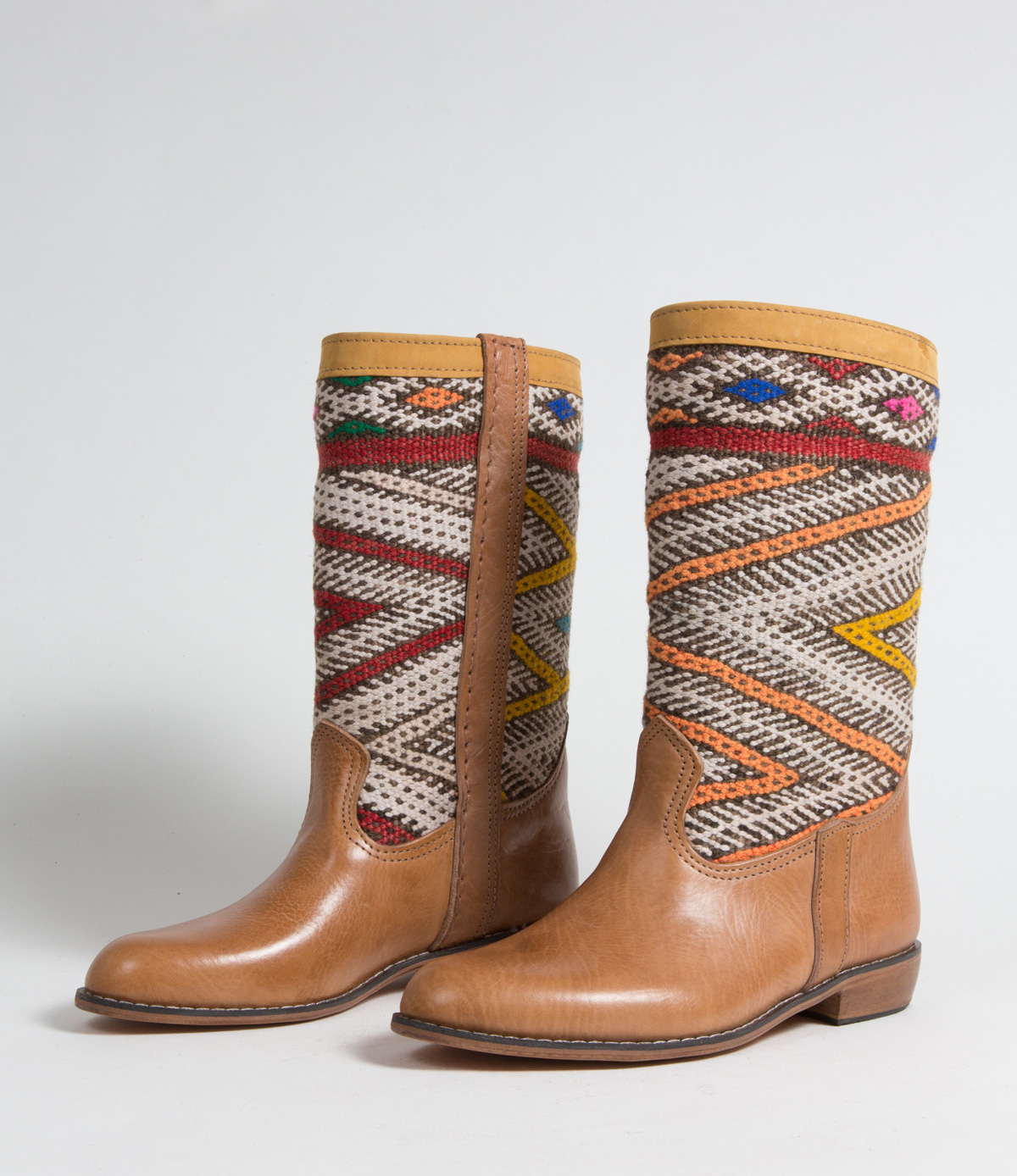 Bottes Kilim cuir mababouche artisanales (Réf. MCL2-39)