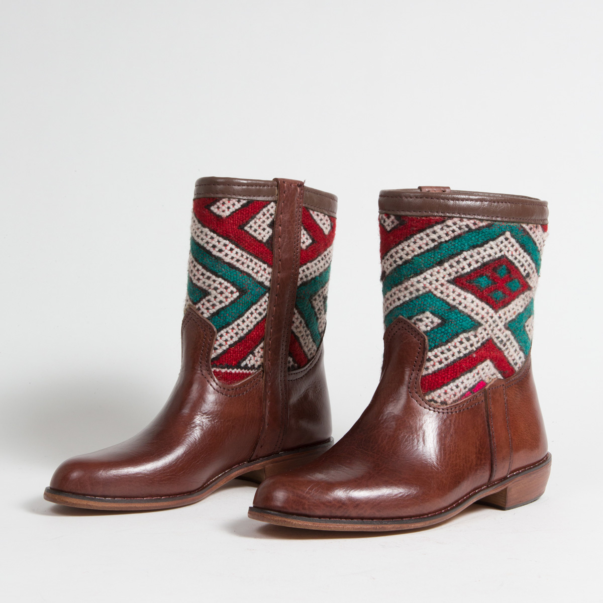 Bottines Kilim cuir mababouche artisanales (Réf. CB1-37)