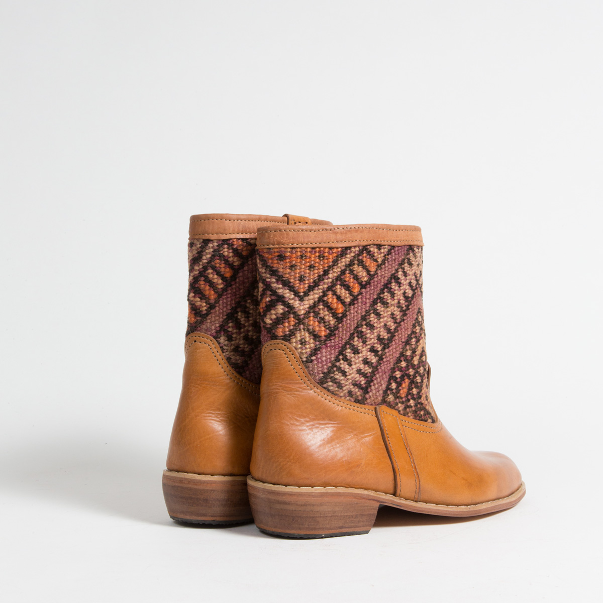 Bottines Kilim cuir mababouche artisanales (Réf. GC2-38)