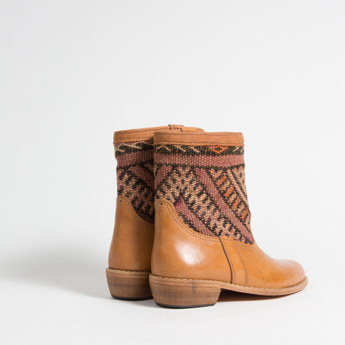 Bottines Kilim cuir mababouche artisanales (Réf. GC3-39)