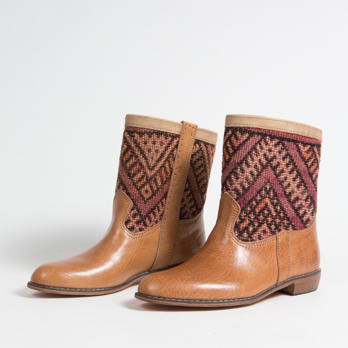 Bottines Kilim cuir mababouche artisanales (Réf. GC4-40)