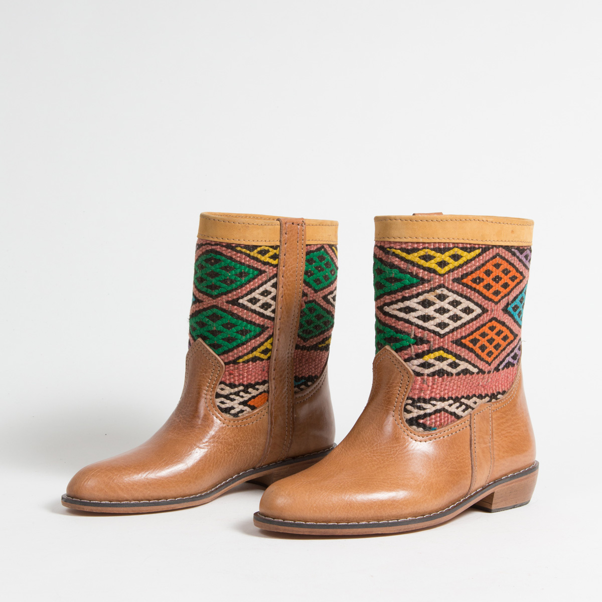Bottines Kilim cuir mababouche artisanales (Réf. LOC1-36)