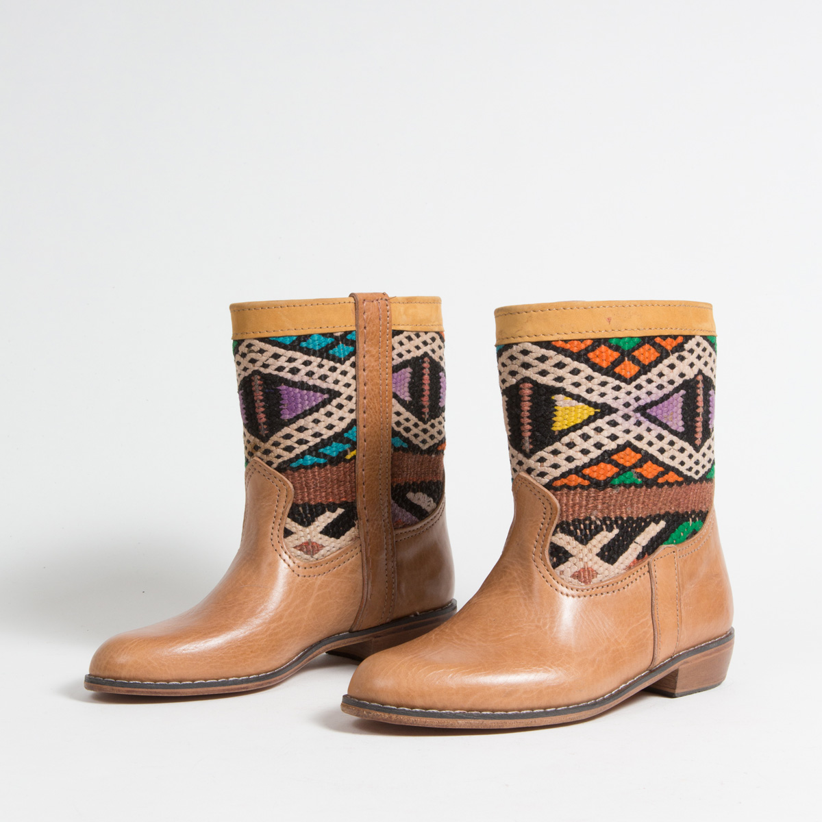 Bottines Kilim cuir mababouche artisanales (Réf. LOC2-37)