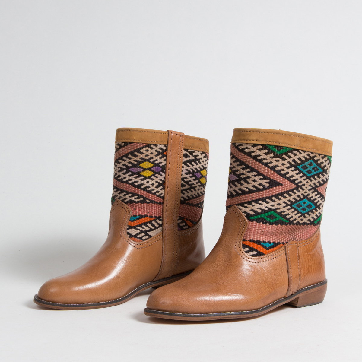 Bottines Kilim cuir mababouche artisanales (Réf. LOC3-38)