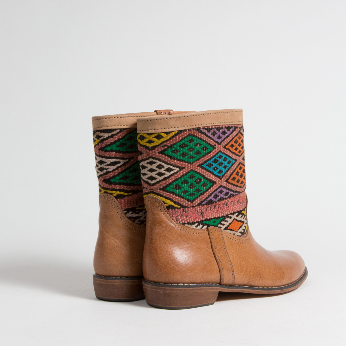 Bottines Kilim cuir mababouche artisanales (Réf. LOC6-40)