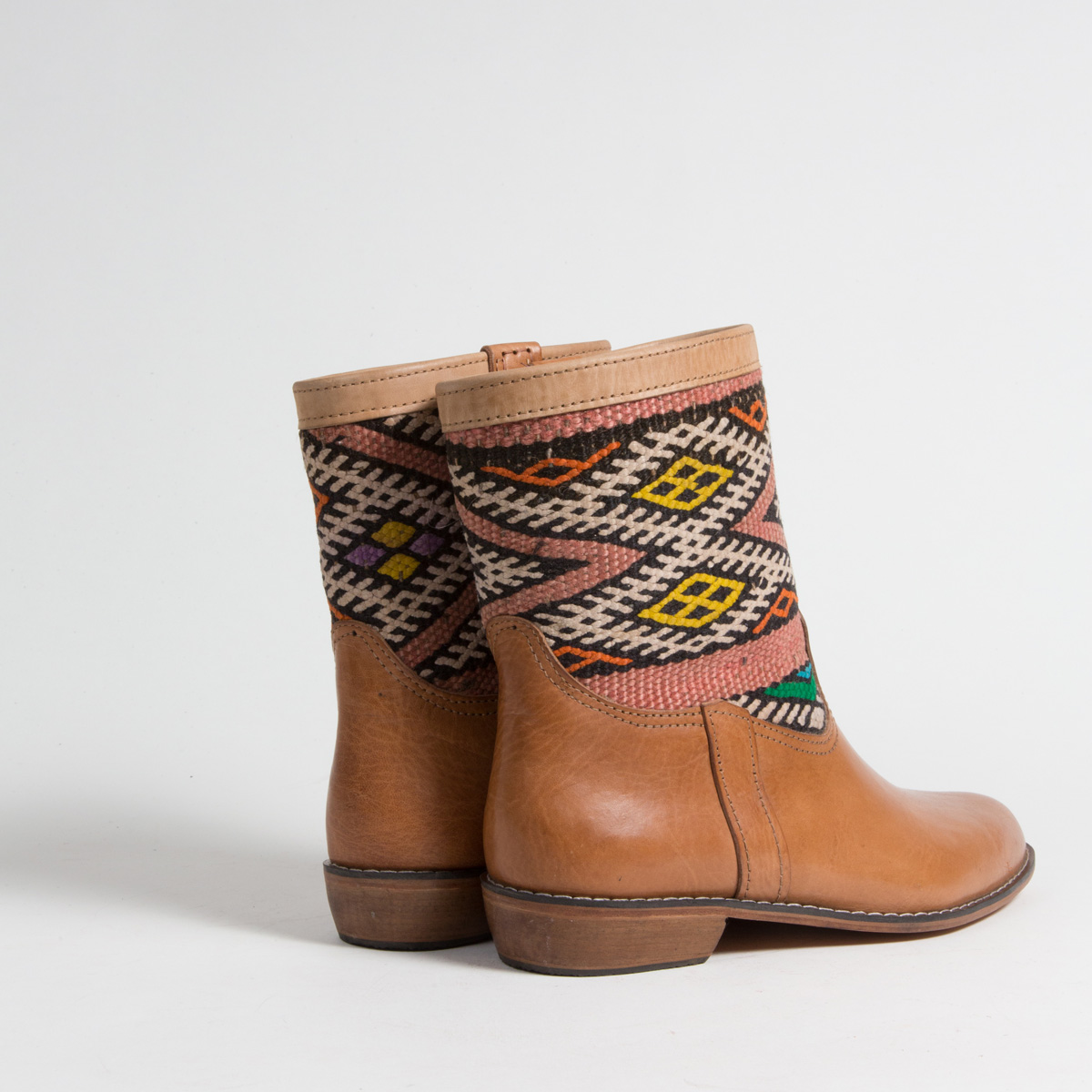 Bottines Kilim cuir mababouche artisanales (Réf. LOC7-41)