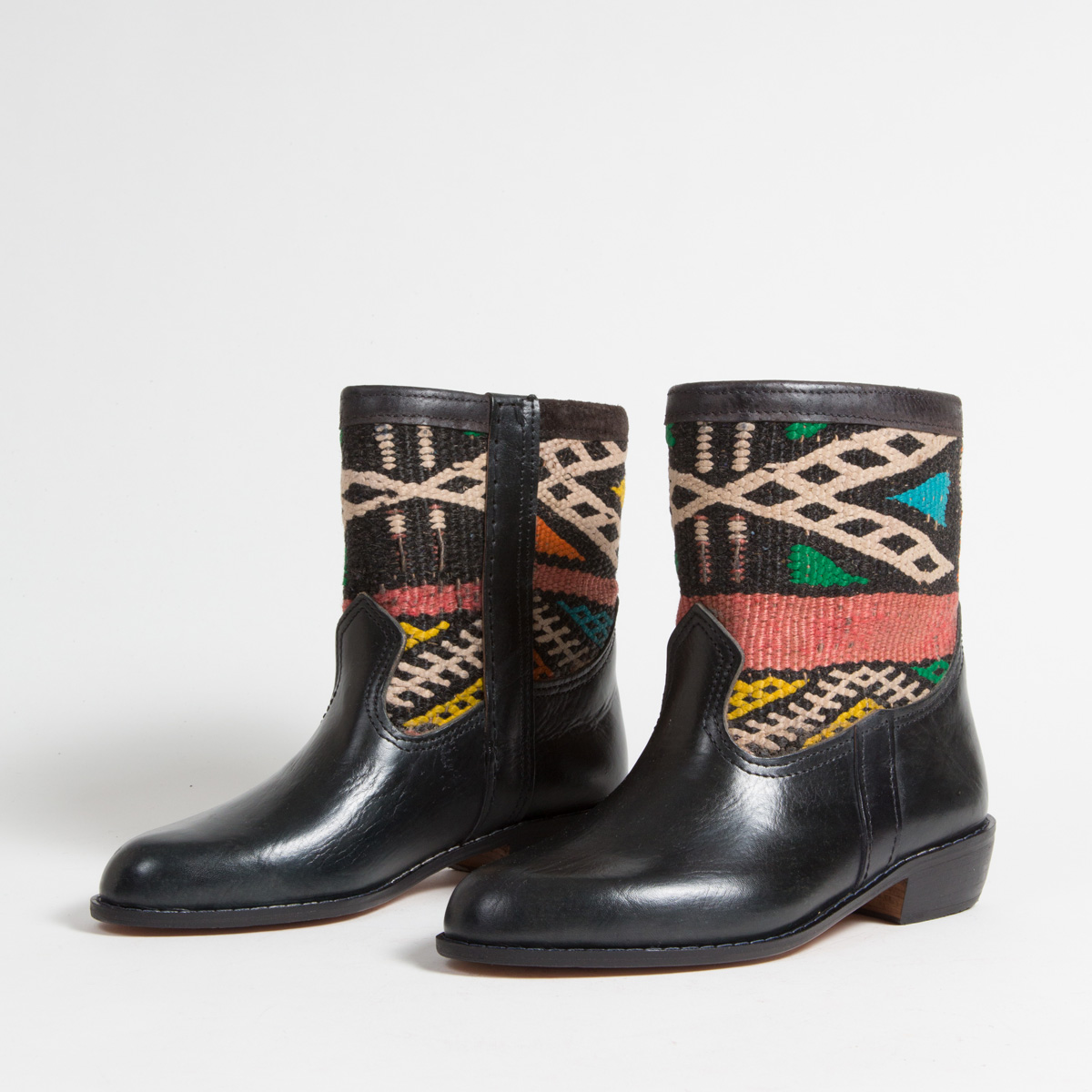 Bottines Kilim cuir mababouche artisanales (Réf. LOCN1-39)