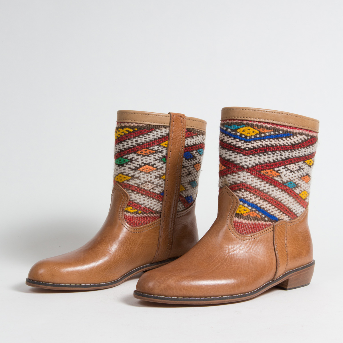 Bottines Kilim cuir mababouche artisanales (Réf. MCC1-40)