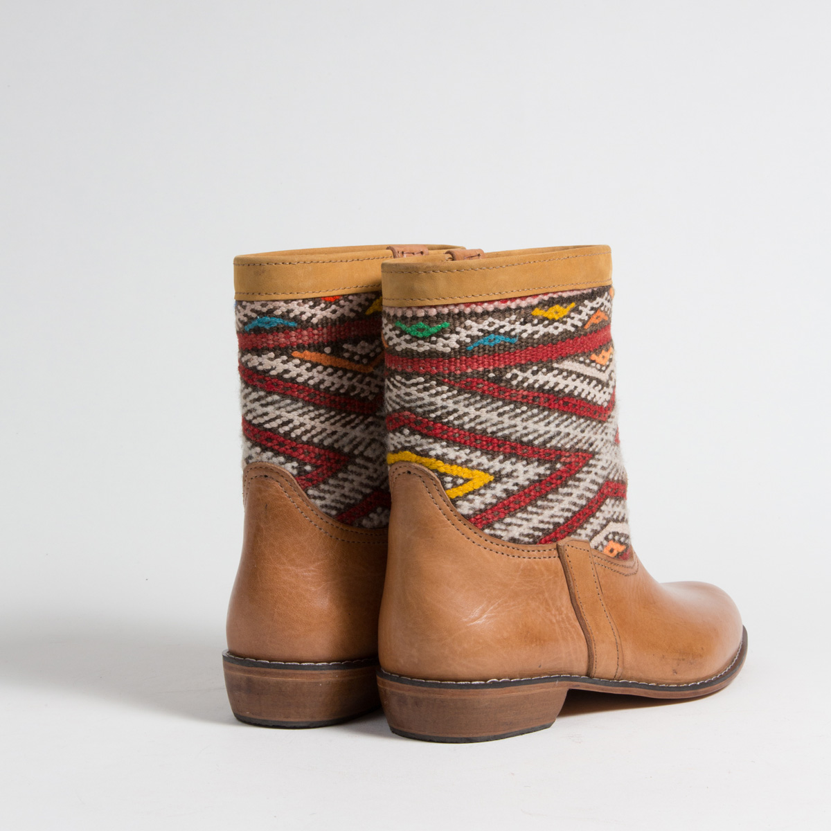 Bottines Kilim cuir mababouche artisanales (Réf. MCC2-42)