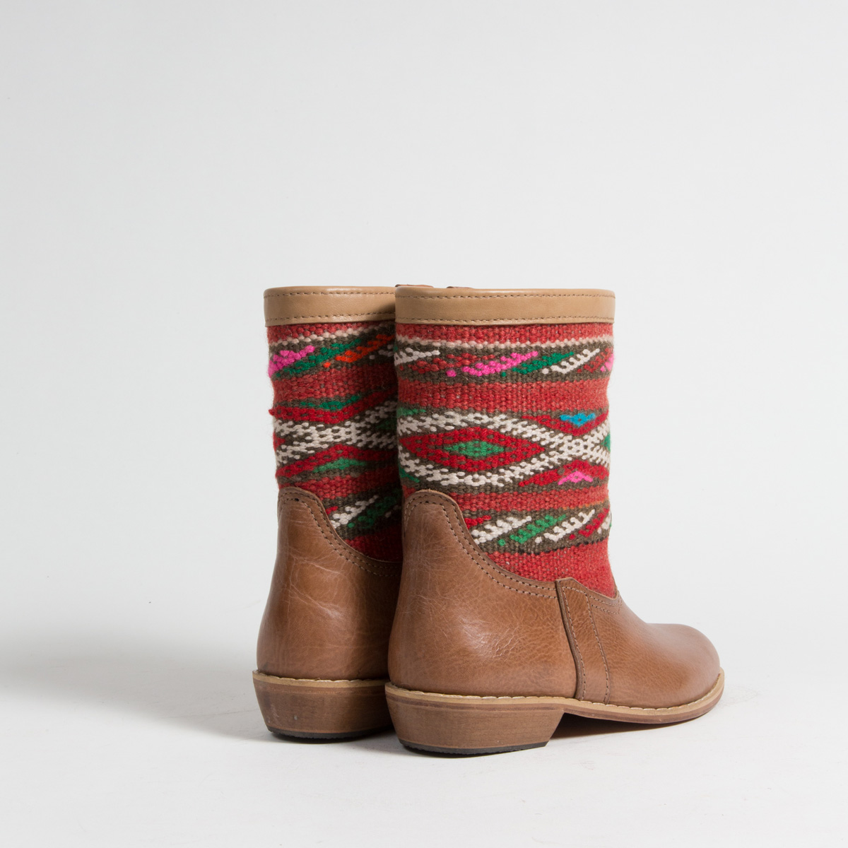 Bottines Kilim cuir mababouche artisanales (Réf. MCH1-36)