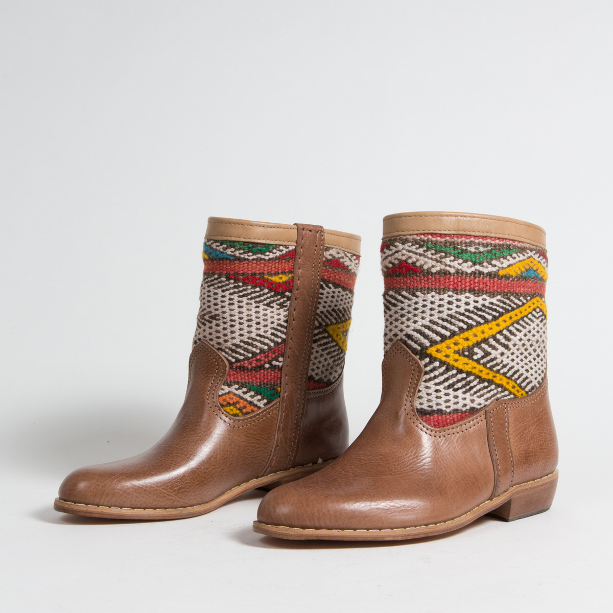 Bottines Kilim cuir mababouche artisanales (Réf. MCH3-38)