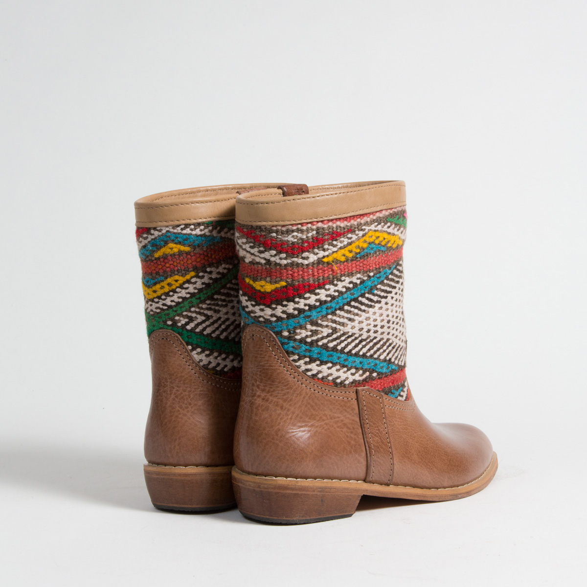 Bottines Kilim cuir mababouche artisanales (Réf. MCH4-39)