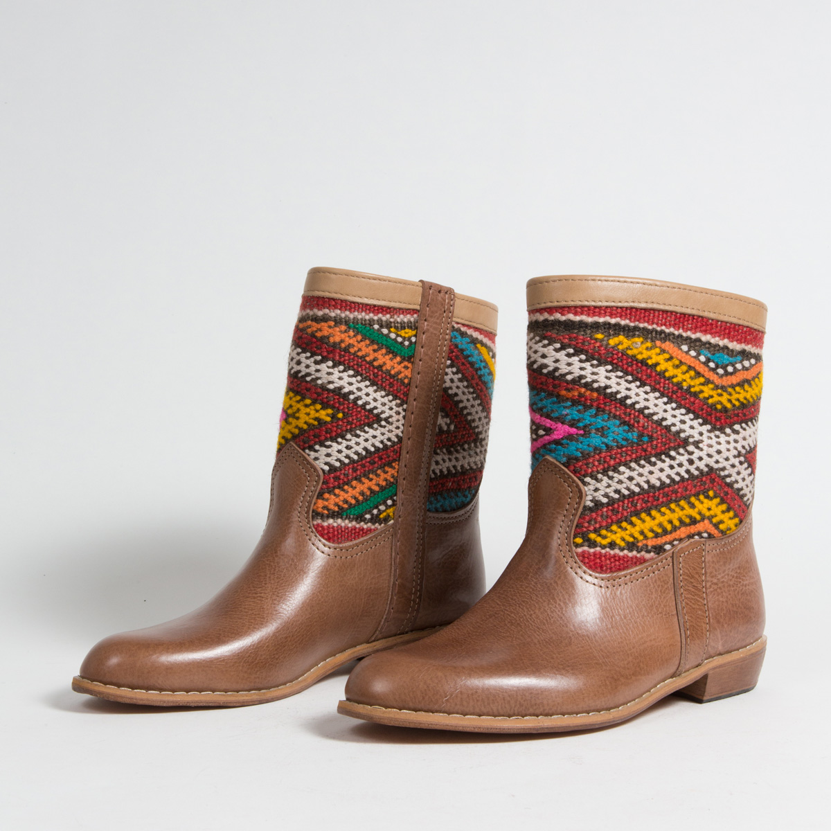 Bottines Kilim cuir mababouche artisanales (Réf. MCH5-40)