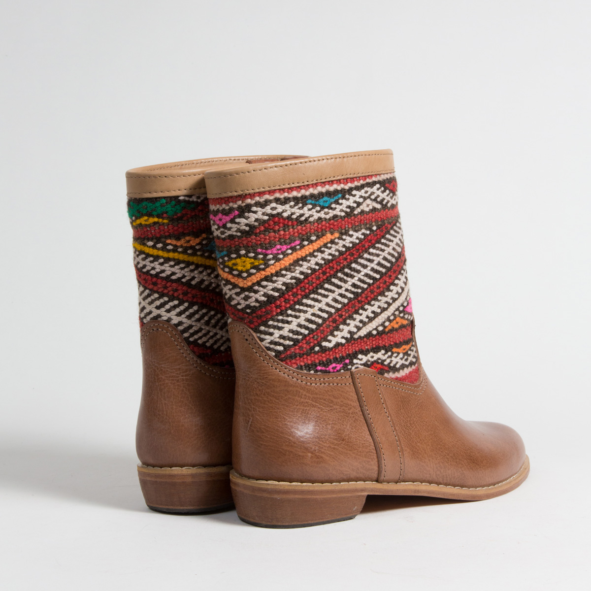 Bottines Kilim cuir mababouche artisanales (Réf. MCH6-42)