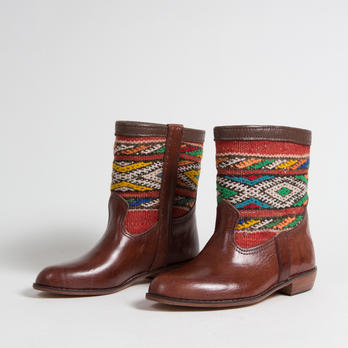 Bottines Kilim cuir mababouche artisanales (Réf. MCM3-38)