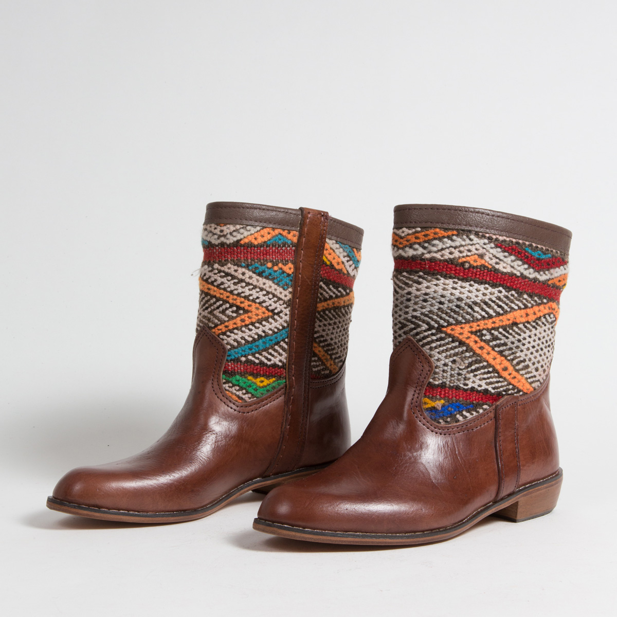 Bottines Kilim cuir mababouche artisanales (Réf. MCM5-39)