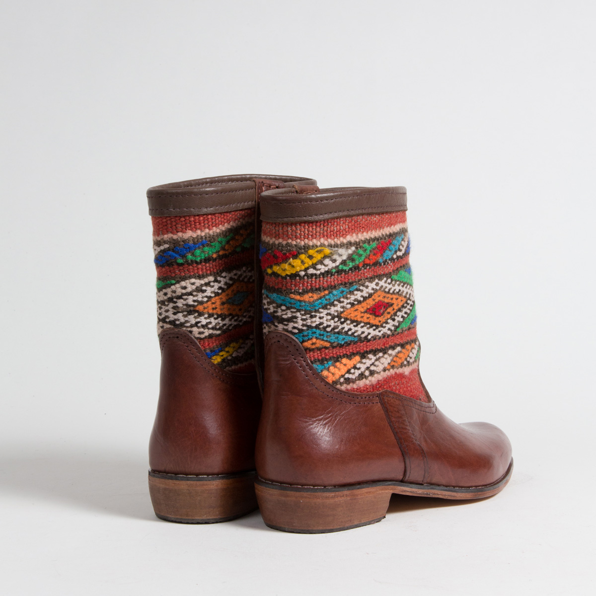 Bottines Kilim cuir mababouche artisanales (Réf. MCM8-41)