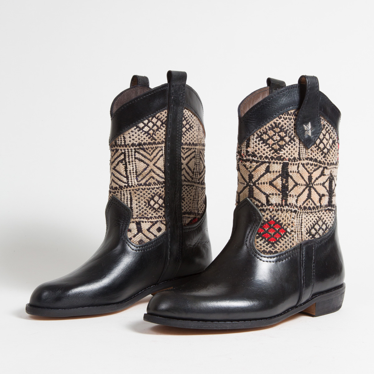 Bottines Kilim cuir mababouche artisanales (Réf. MN10-39)
