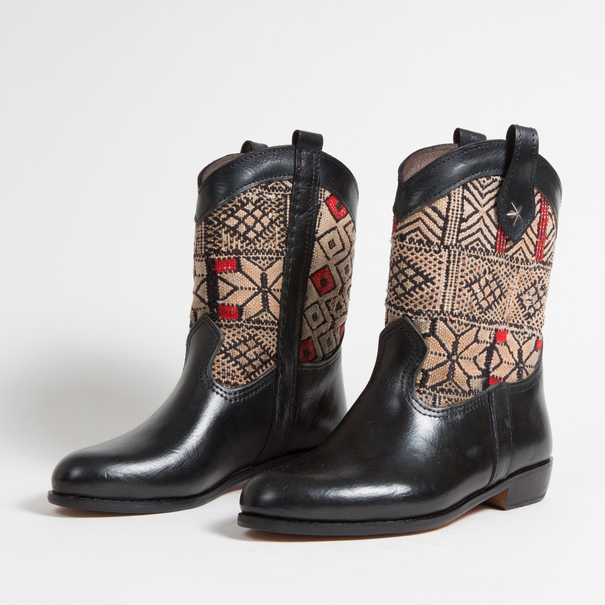 Bottines Kilim cuir mababouche artisanales (Réf. MN12-40)