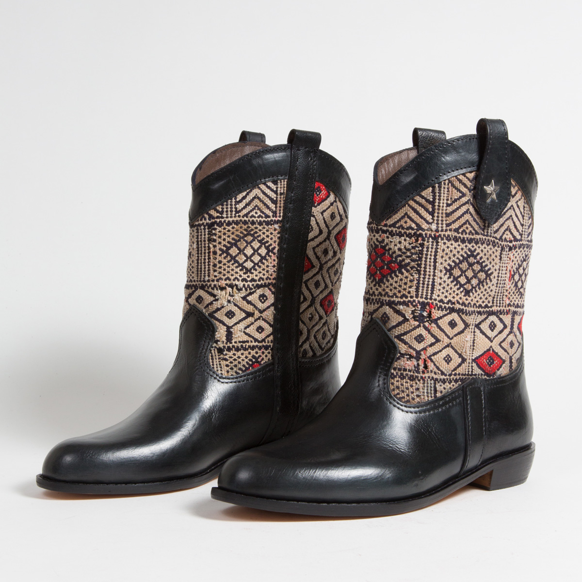Bottines Kilim cuir mababouche artisanales (Réf. MN16-42)