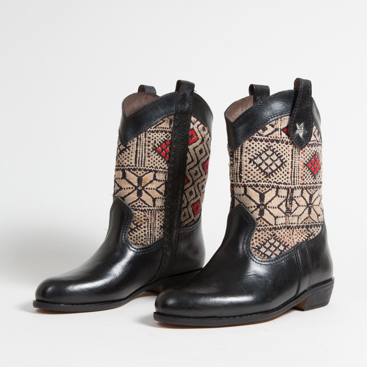 Bottines Kilim cuir mababouche artisanales (Réf. MN2-37)