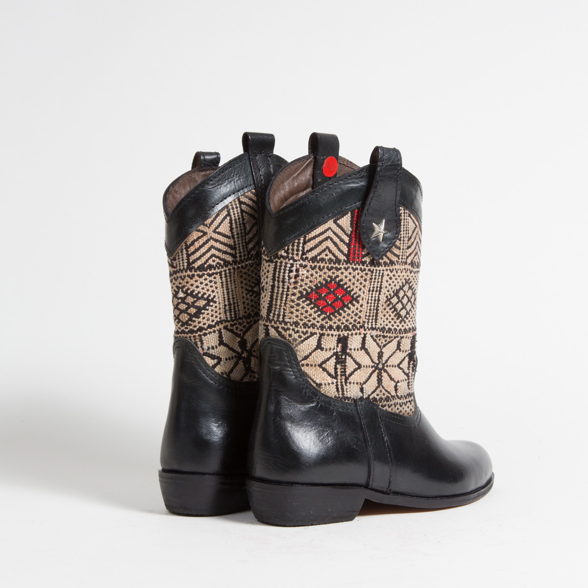 Bottines Kilim cuir mababouche artisanales (Réf. MN3-37)