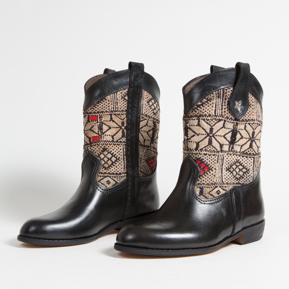 Bottines Kilim cuir mababouche artisanales (Réf. MN4-38)