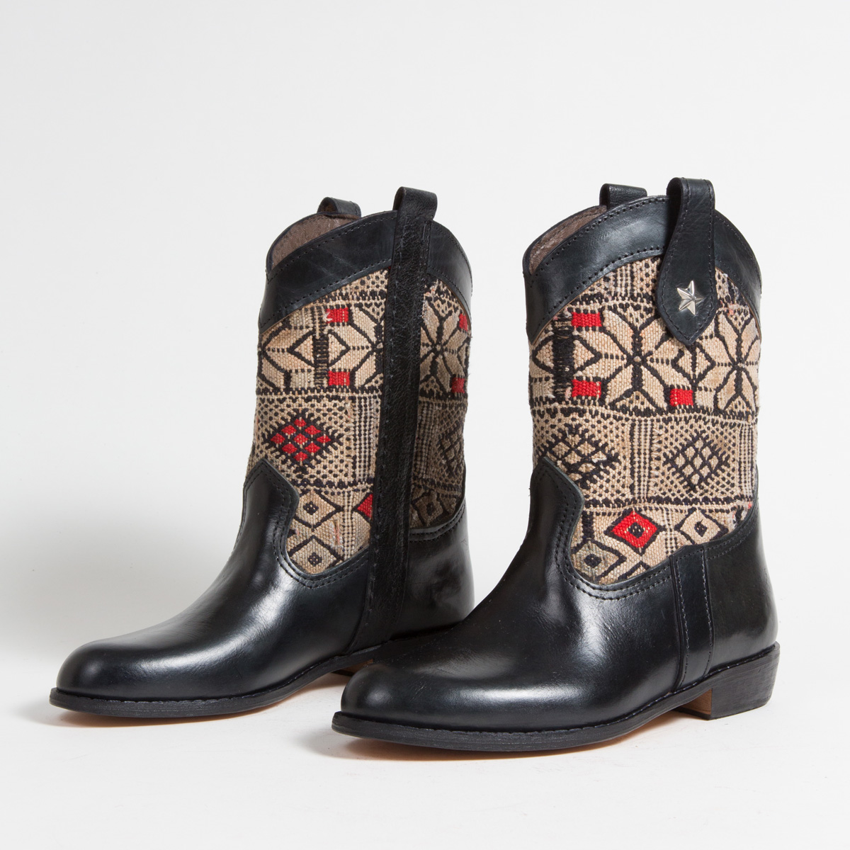 Bottines Kilim cuir mababouche artisanales (Réf. MN5-38)
