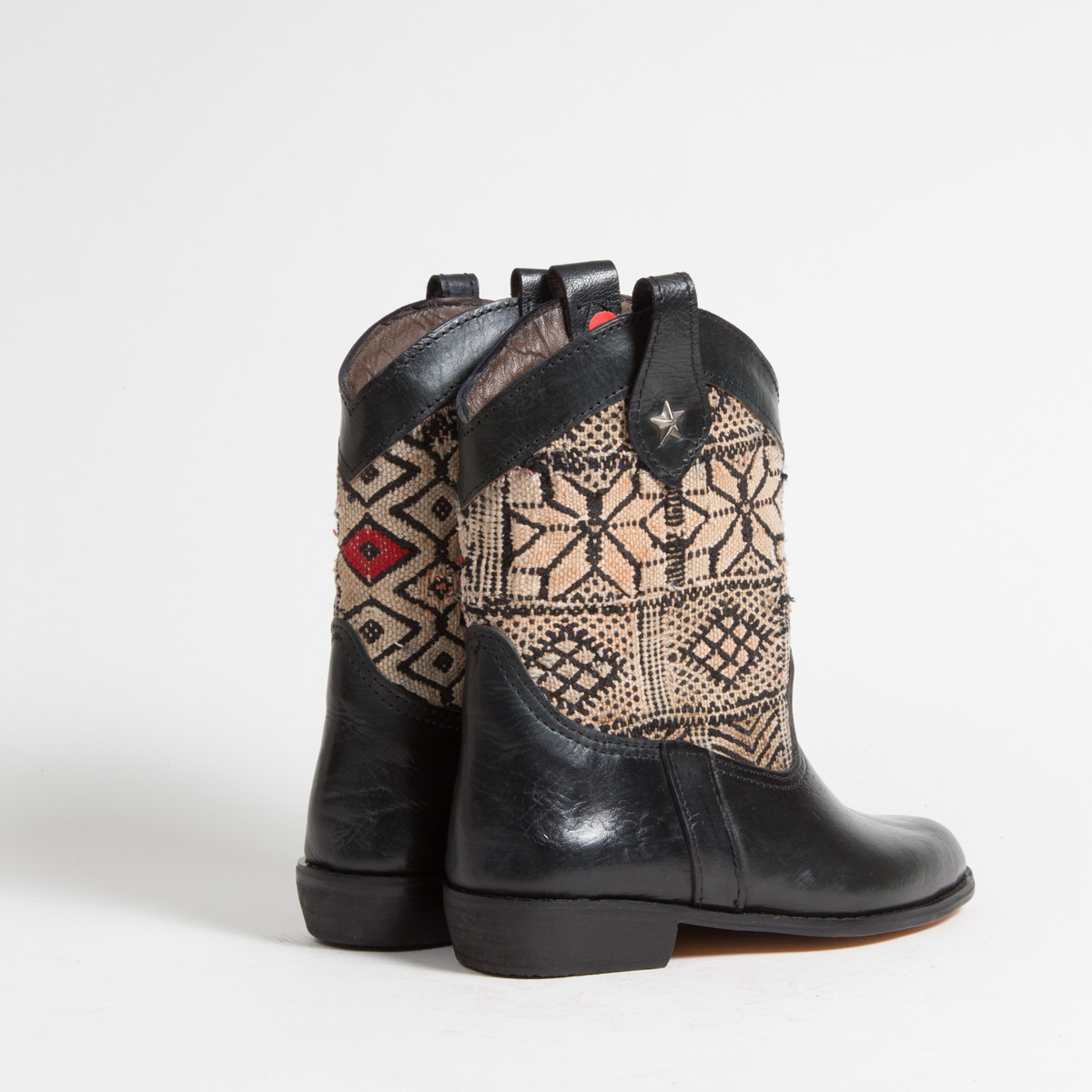 Bottines Kilim cuir mababouche artisanales (Réf. MN6-38)