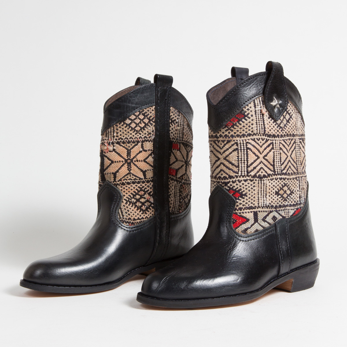 Bottines Kilim cuir mababouche artisanales (Réf. MN8-39)