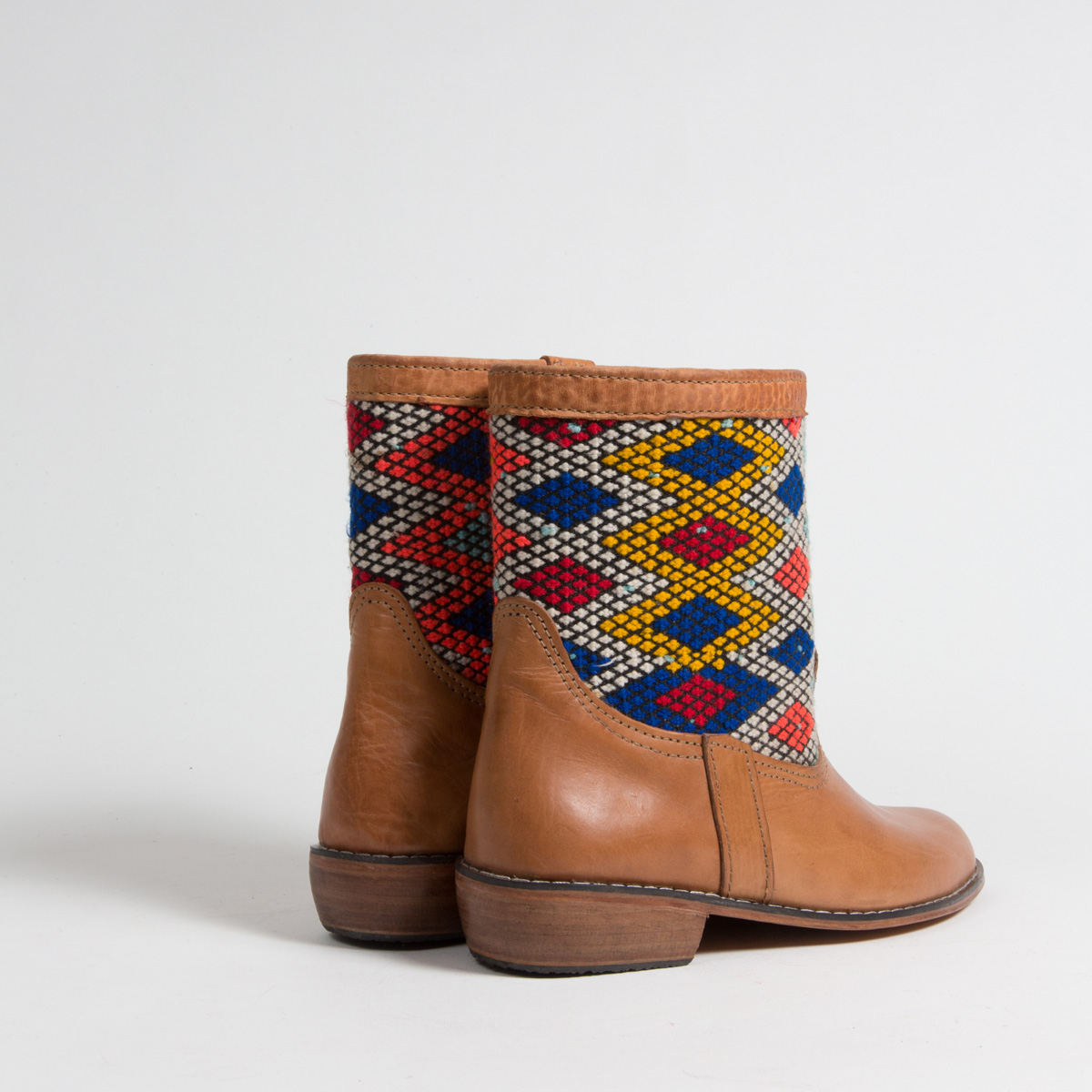 Bottines Kilim cuir mababouche artisanales (Réf. MOI-38)