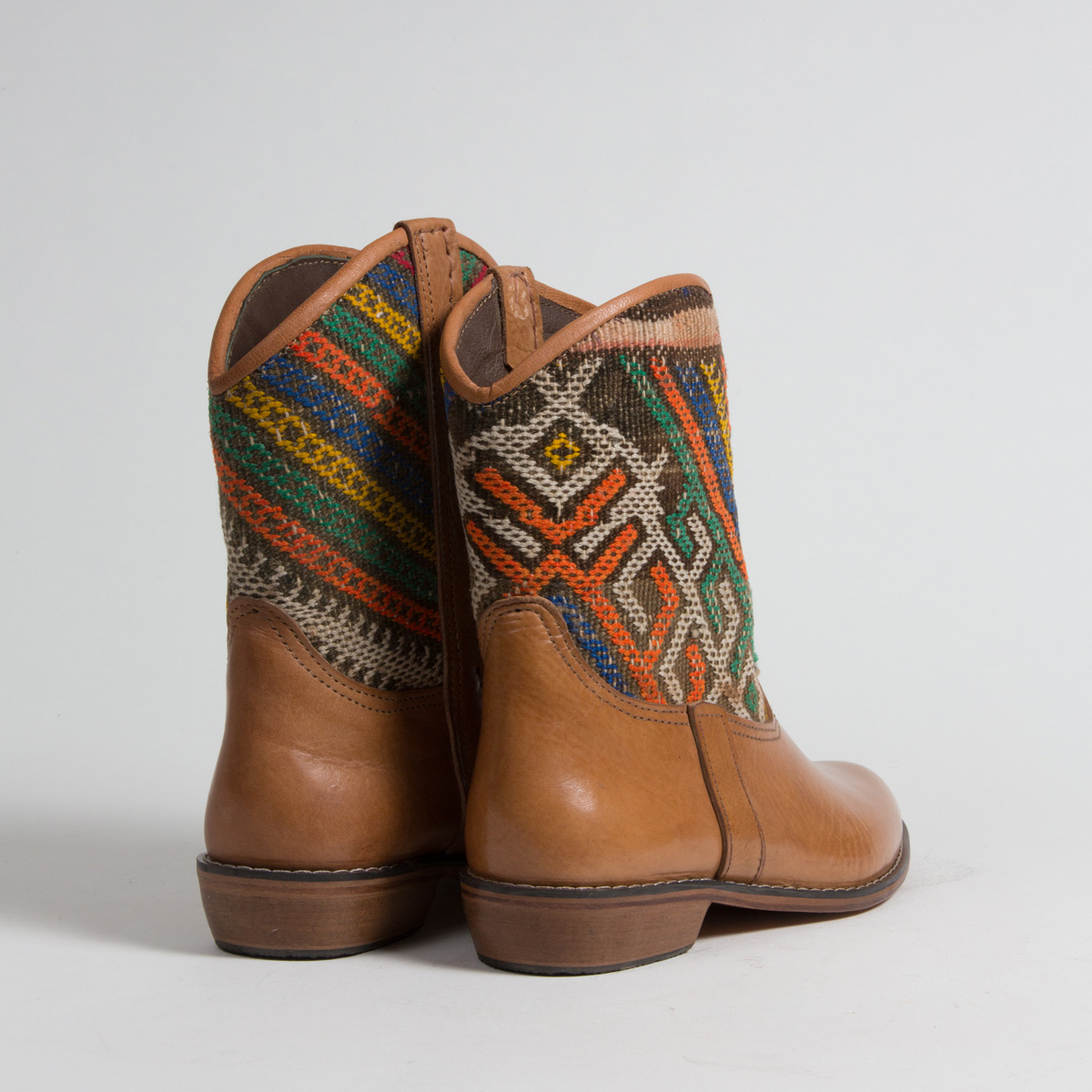 Bottines Kilim cuir mababouche artisanales (Réf. P11-41)
