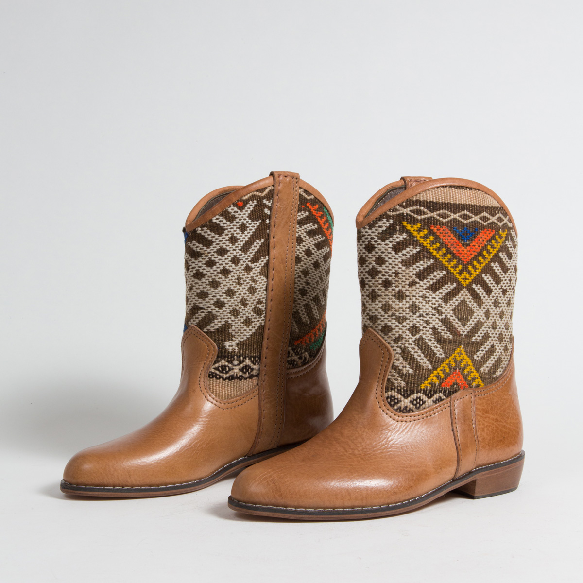 Bottines Kilim cuir mababouche artisanales (Réf. P3-37)