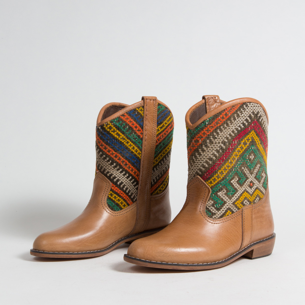 Bottines Kilim cuir mababouche artisanales (Réf. P4-38)