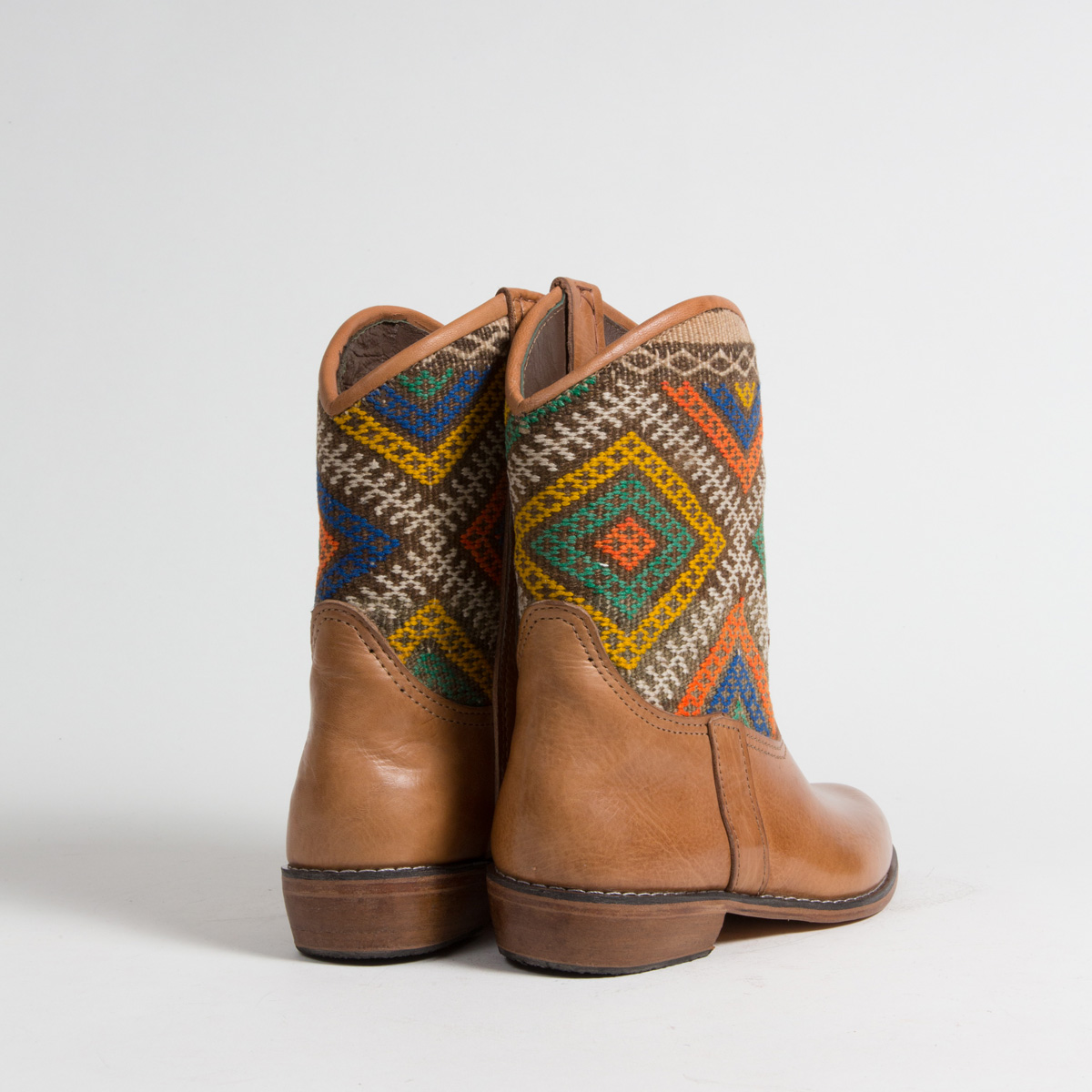 Bottines Kilim cuir mababouche artisanales (Réf. P5-38)