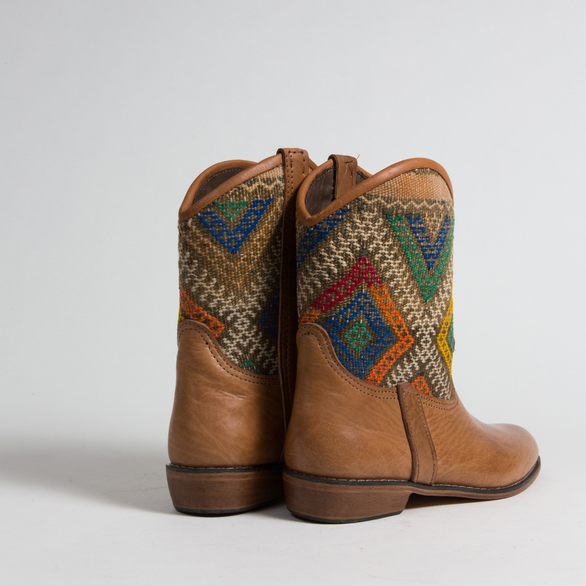Bottines Kilim cuir mababouche artisanales (Réf. P6-39)