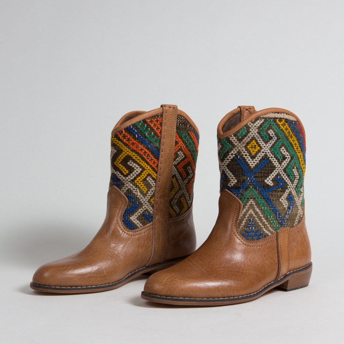 Bottines Kilim cuir mababouche artisanales (Réf. P7-39)