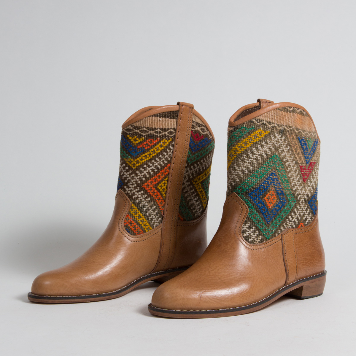 Bottines Kilim cuir mababouche artisanales (Réf. P8-40)