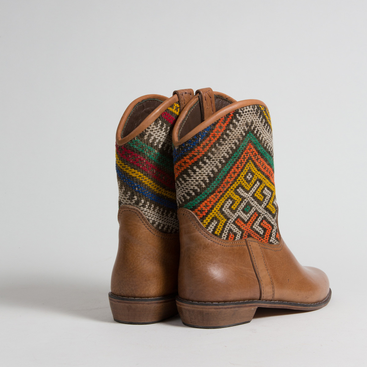 Bottines Kilim cuir mababouche artisanales (Réf. P9-40)
