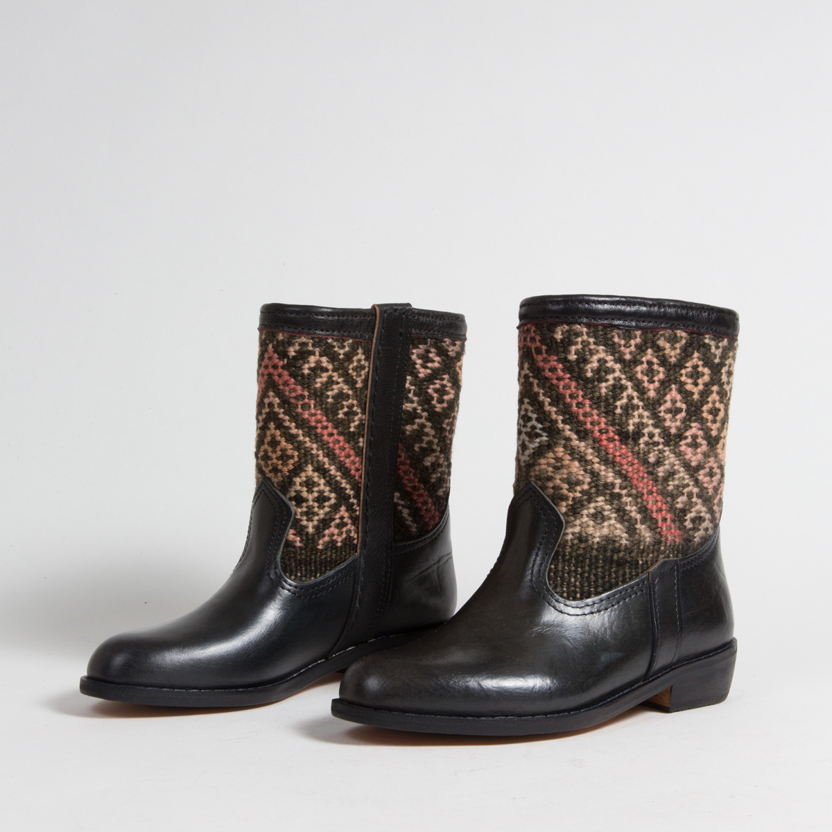Bottines Kilim cuir mababouche artisanales (Réf. RPN1-36)