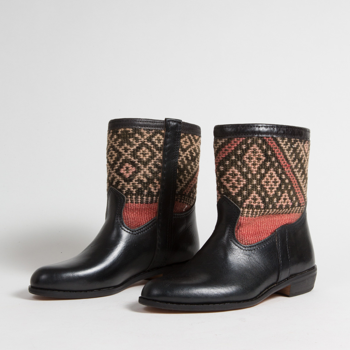 Bottines Kilim cuir mababouche artisanales (Réf. RPN14-39)