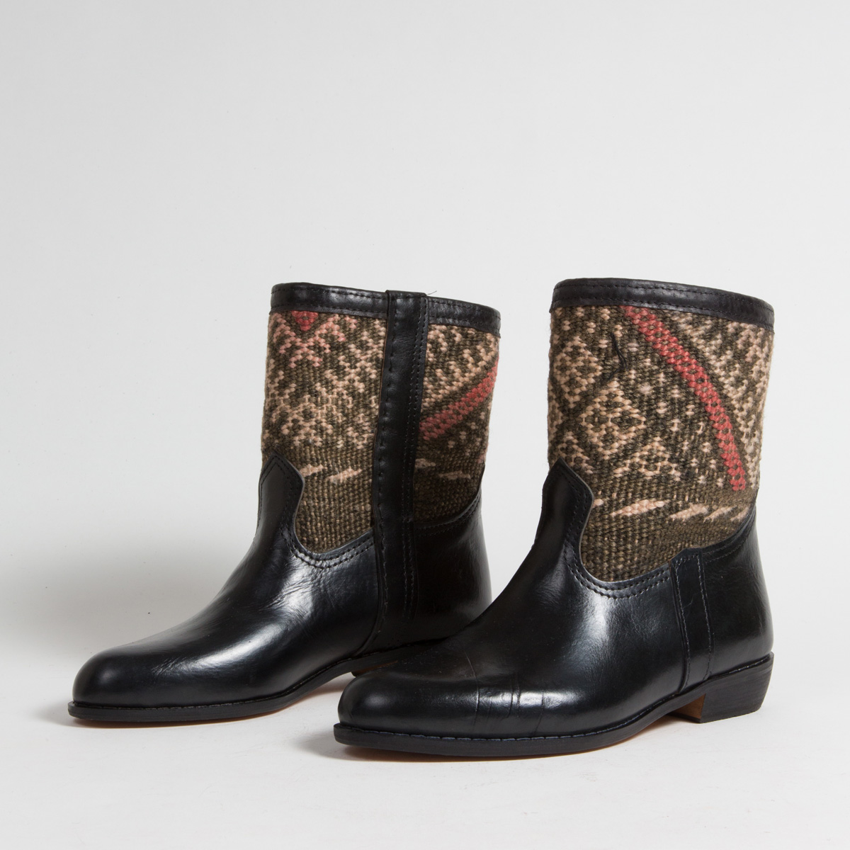 Bottines Kilim cuir mababouche artisanales (Réf. RPN19-39)