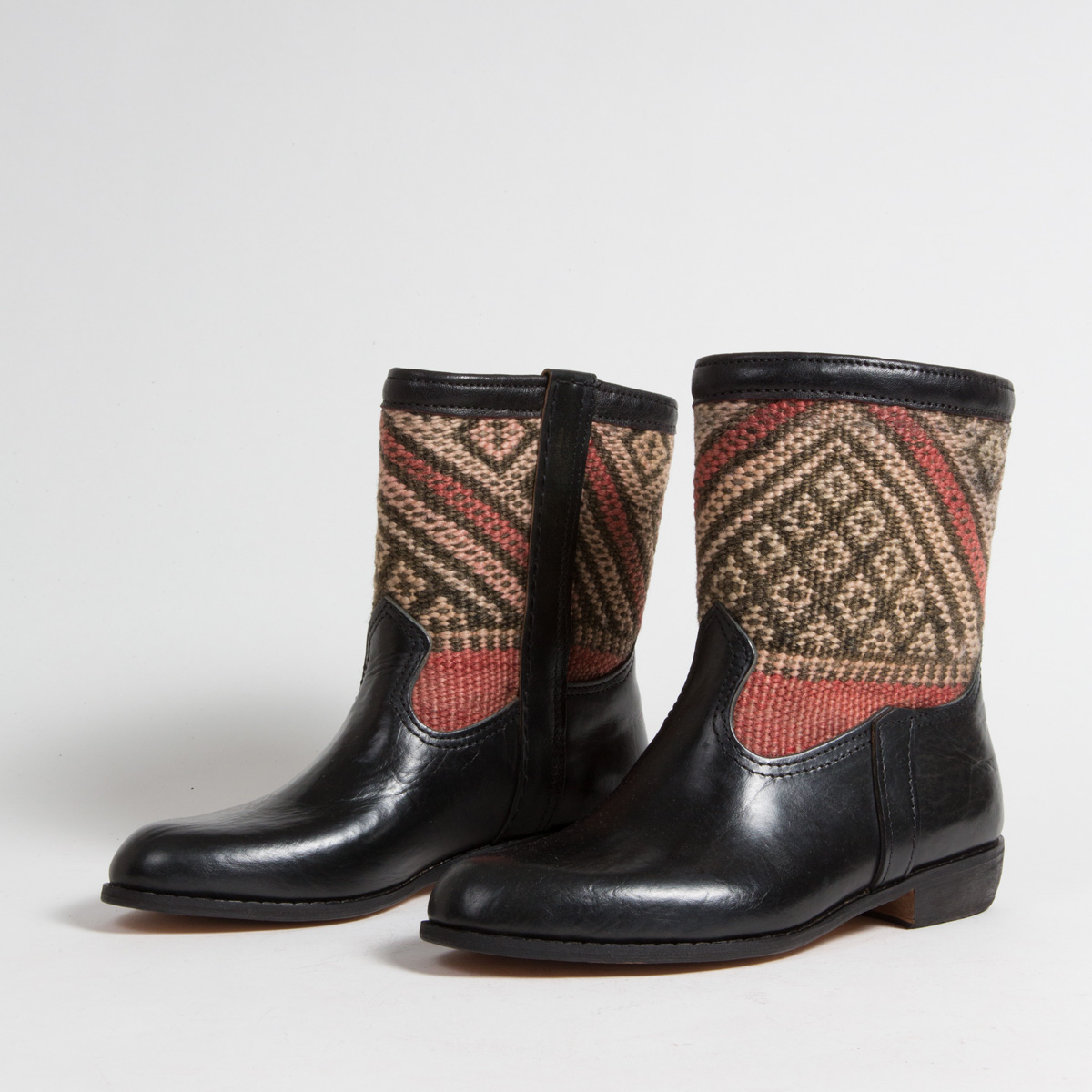 Bottines Kilim cuir mababouche artisanales (Réf. RPN21-40)