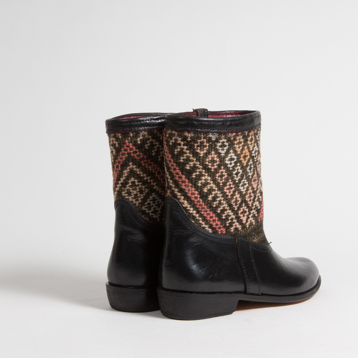 Bottines Kilim cuir mababouche artisanales (Réf. RPN23-40)