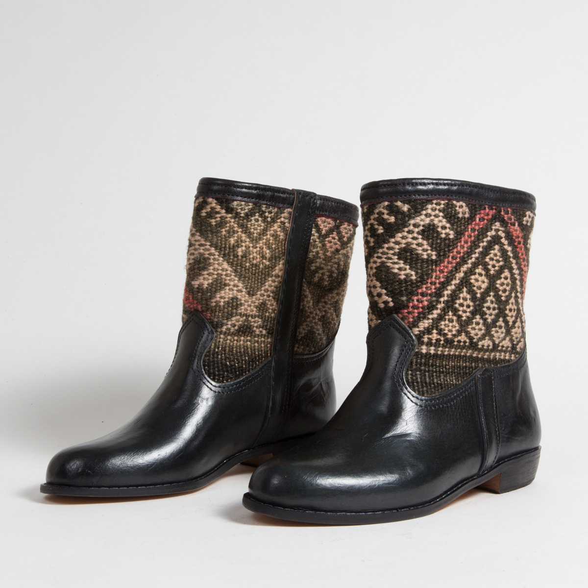 Bottines Kilim cuir mababouche artisanales (Réf. RPN32-42)