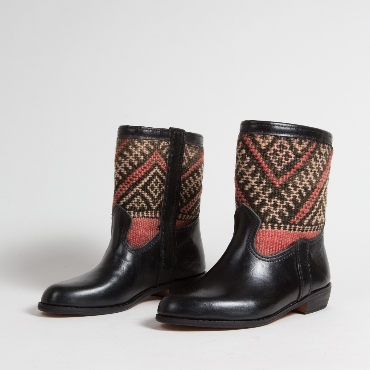 Bottines Kilim cuir mababouche artisanales (Réf. RPN4-37)