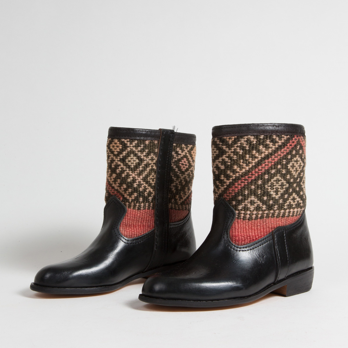 Bottines Kilim cuir mababouche artisanales (Réf. RPN8-38)