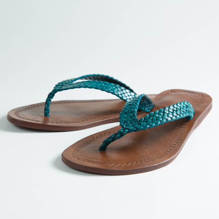 Tongs cuir femmes <br>tresse bleu turquoise (002)
