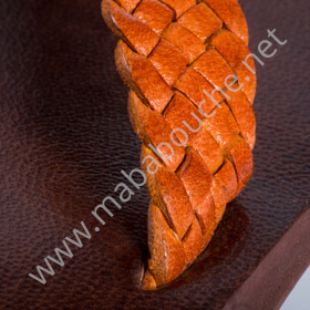 Tongs cuir hommes <br>tresse orange (h002)